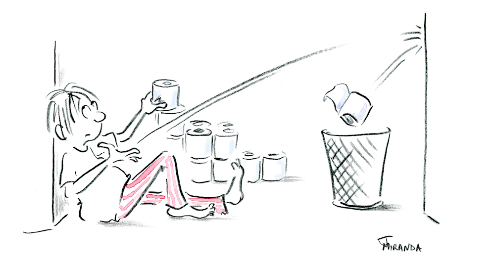Spot illustration showing bored man in pjs shooting toilet paper rolls into the wastepaper basket, by Joana Miranda