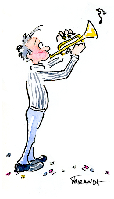 Whimsical ink and watercolor trumpet player cartoon by Joana Miranda