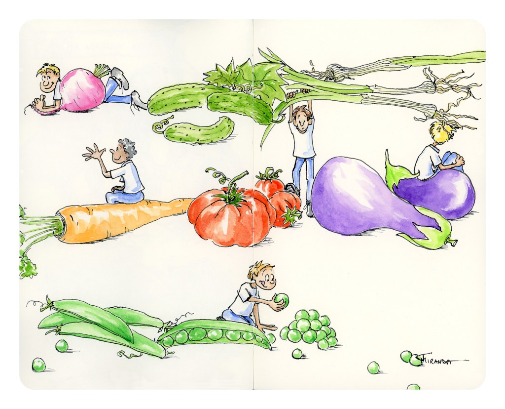 New Doodle Art Prints - Eat Your Veggies - by Joana Miranda