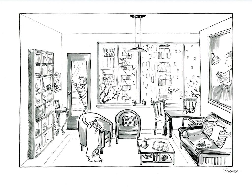 One-point perspective room study by Joana Miranda for Domestika art course taught by Mattias Adolfsson