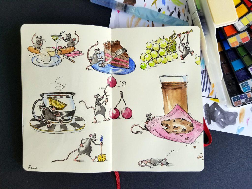 Food Doodle Art  - Snack Time - by Joana Miranda