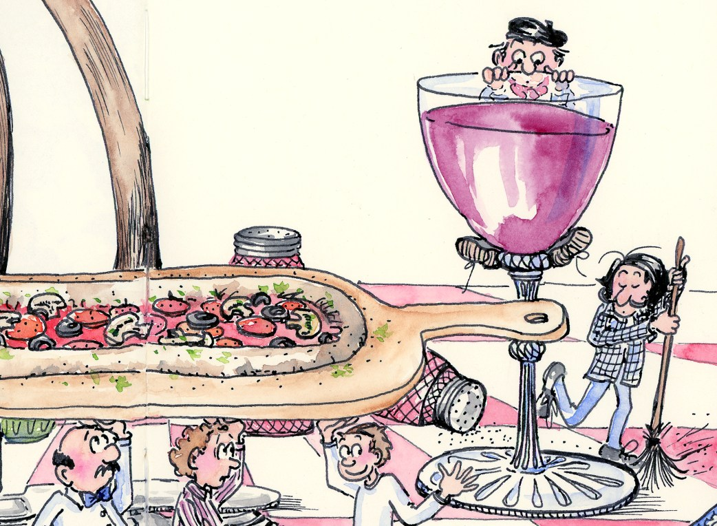 Bon Appetit Pizza Art detail from illustration by Joana Miranda