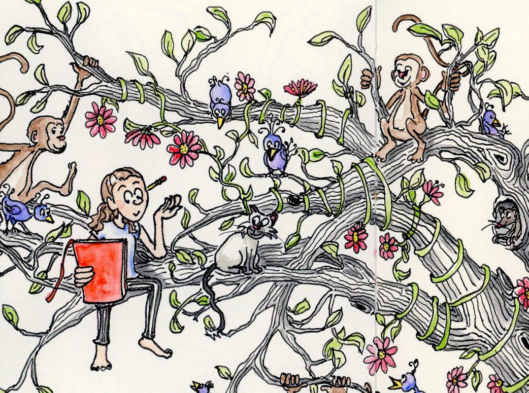 Detail from Whimsical Tree of Life Art illustration by Joana Miranda