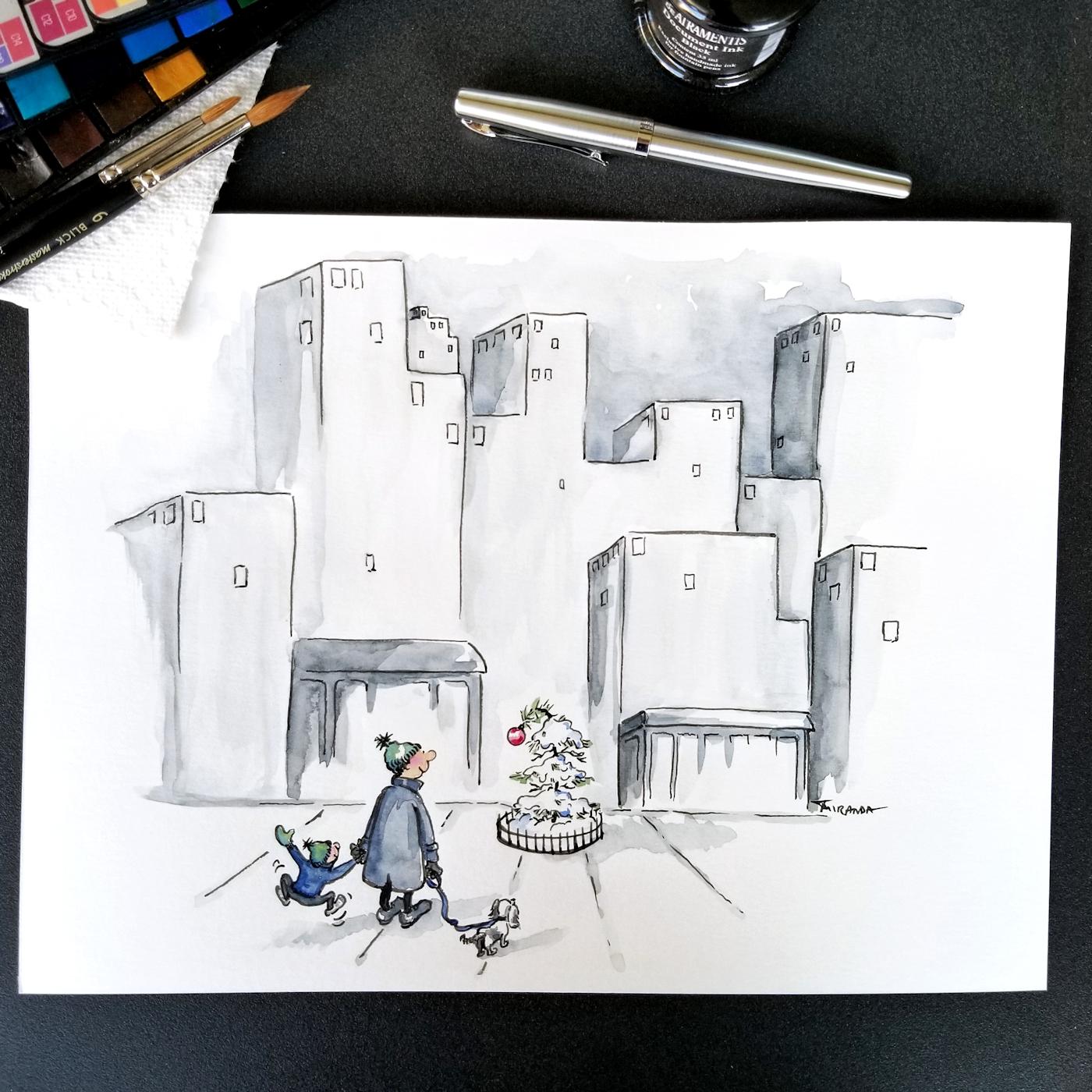 JMSC-182 Merry and Bright photo of original illustration by Joana Miranda