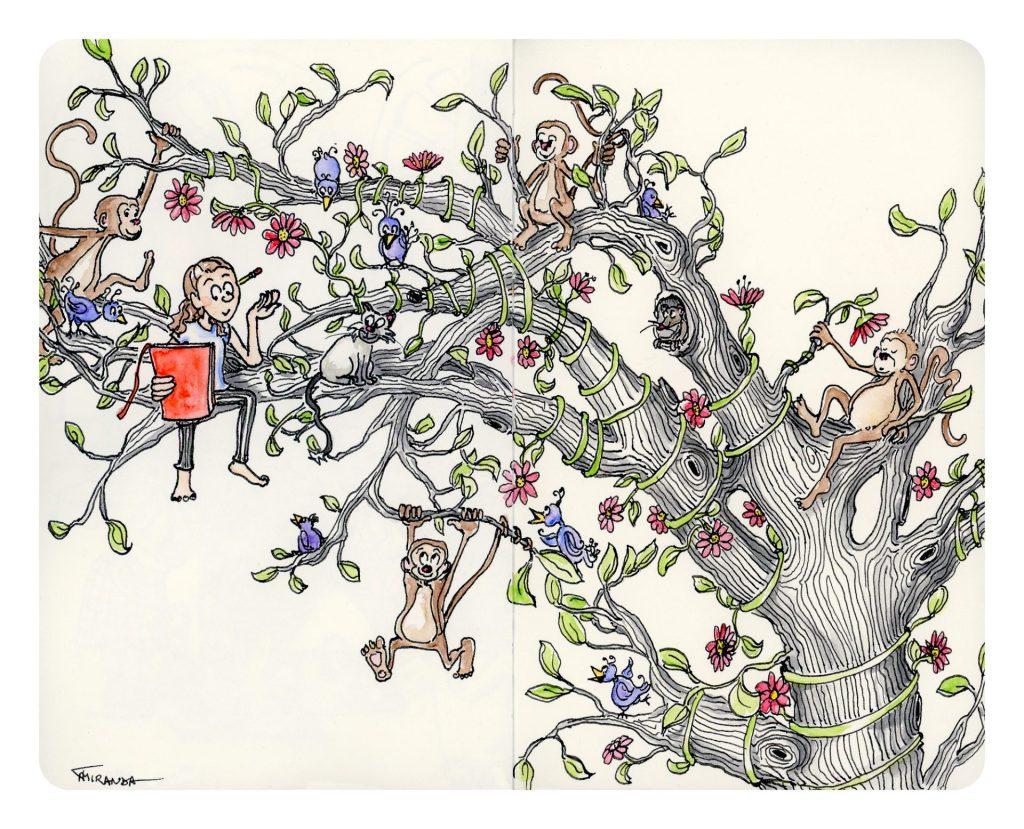 The Tree of Life - Moleskine sketchbook freehand drawn illustration by Joana Miranda