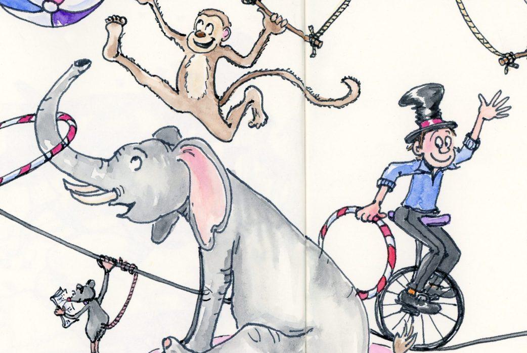 Circus animal art by Joana Miranda