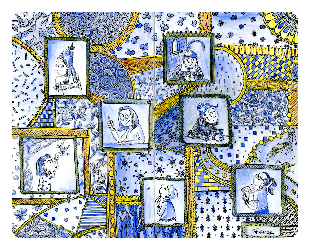 Nine Ladies freehand drawing ink and watercolor illustration from my Moleskine notebook
