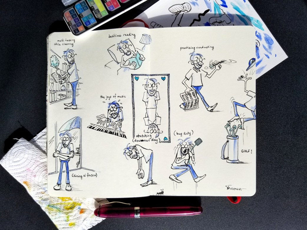 Photo of character design illustrations in my Moleskine notebook