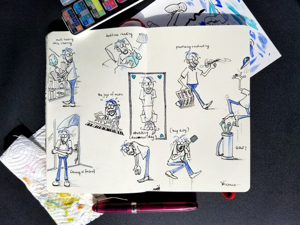 Photo of my Ace of Hearts character design in my Moleskine notebook