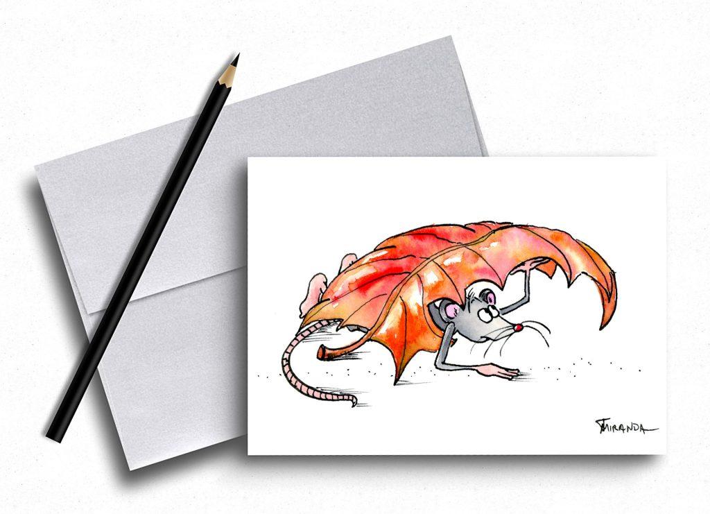 Funny housewarming card - mouse art - by Joana Miranda Studio