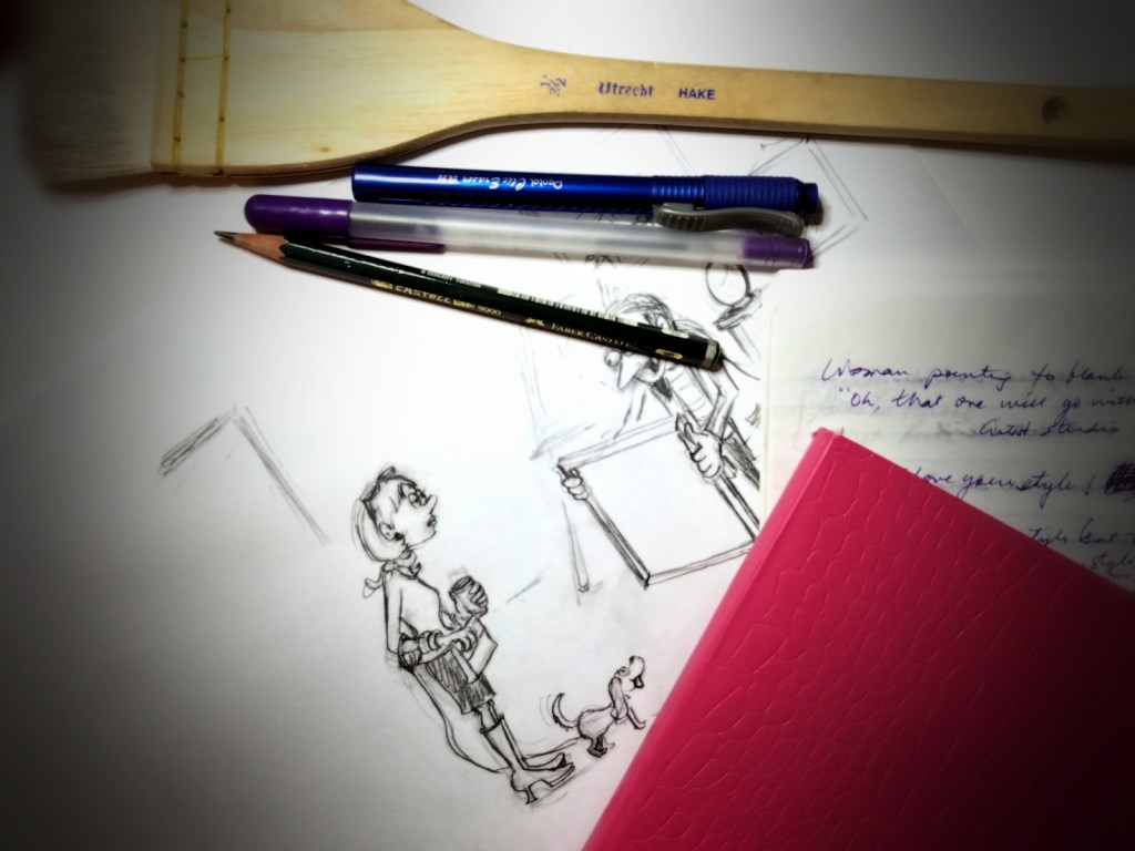 Cartoonist at work - photo of my drafting board and workspace as I work out my newest gag cartoon.