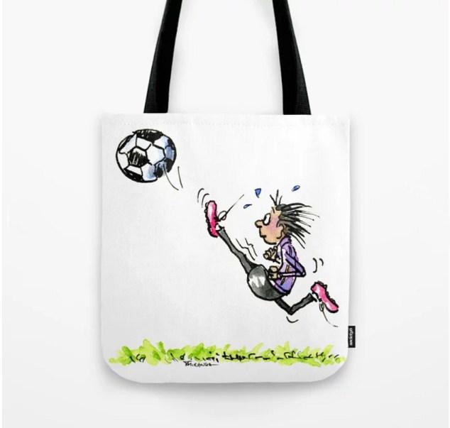 New Products In My Shop at Society6: Little Soccer Girl tote bag by Joana Miranda Studio at Society6