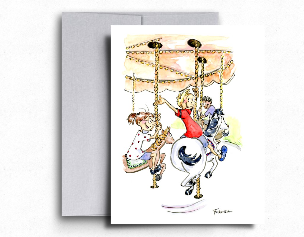 The Carousel - Whimsical ink and watercolor illustration by Joana Miranda