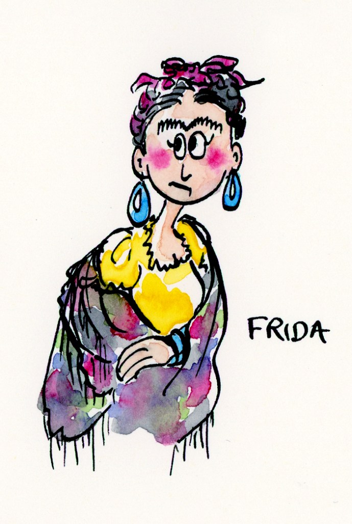 Ink and watercolor freehand drawn ink and watercolor illustration of Frida Kahlo by Joana Miranda