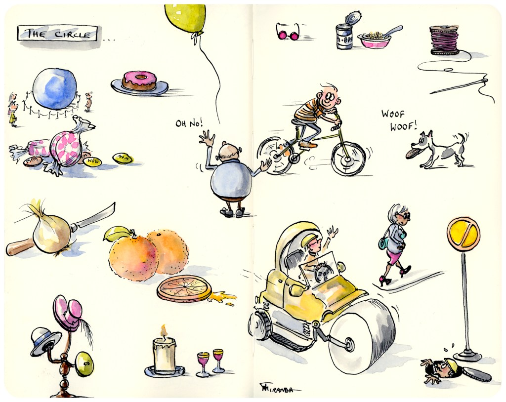 Illustrated variations on the Circle as an example of my illustrated adventures with watercolor