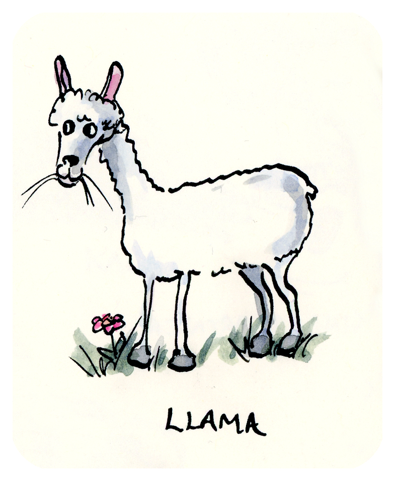L is for Llama - from my L is for Love and Other Illustrations Moleskine Alphabet Series