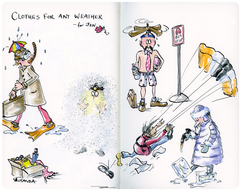 Clothes for Any Weather - Whimsical Moleskine Art Sketchbook illustration by Joana Miranda
