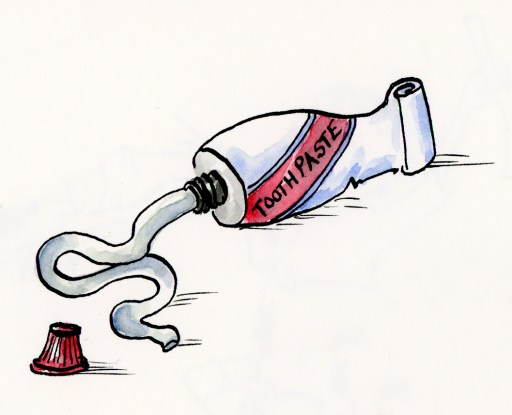 Whimsical ink and watercolor toothpaste illustration - Part of my Cylinder Inspired Illustrations
