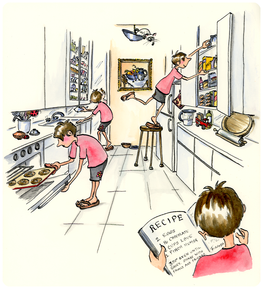 In the Kitchen - Detailed ink and watercolor illustration by Joana Miranda