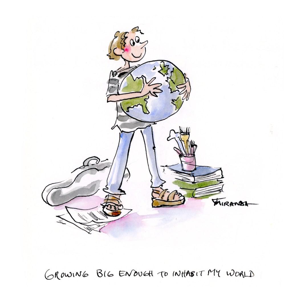 Ink and watercolor illustration by Joana Miranda
