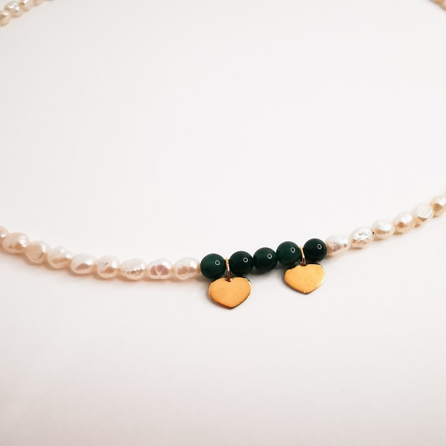 Gold plated necklace with pearls and gemstones