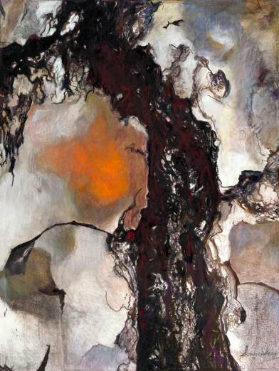 "Bark Tree 48"" x 36"" Mixed Media on Canvas"