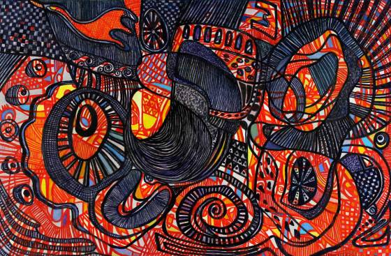 "Elysian Fields 37"" x 48"" Mixed Media on Canvas"