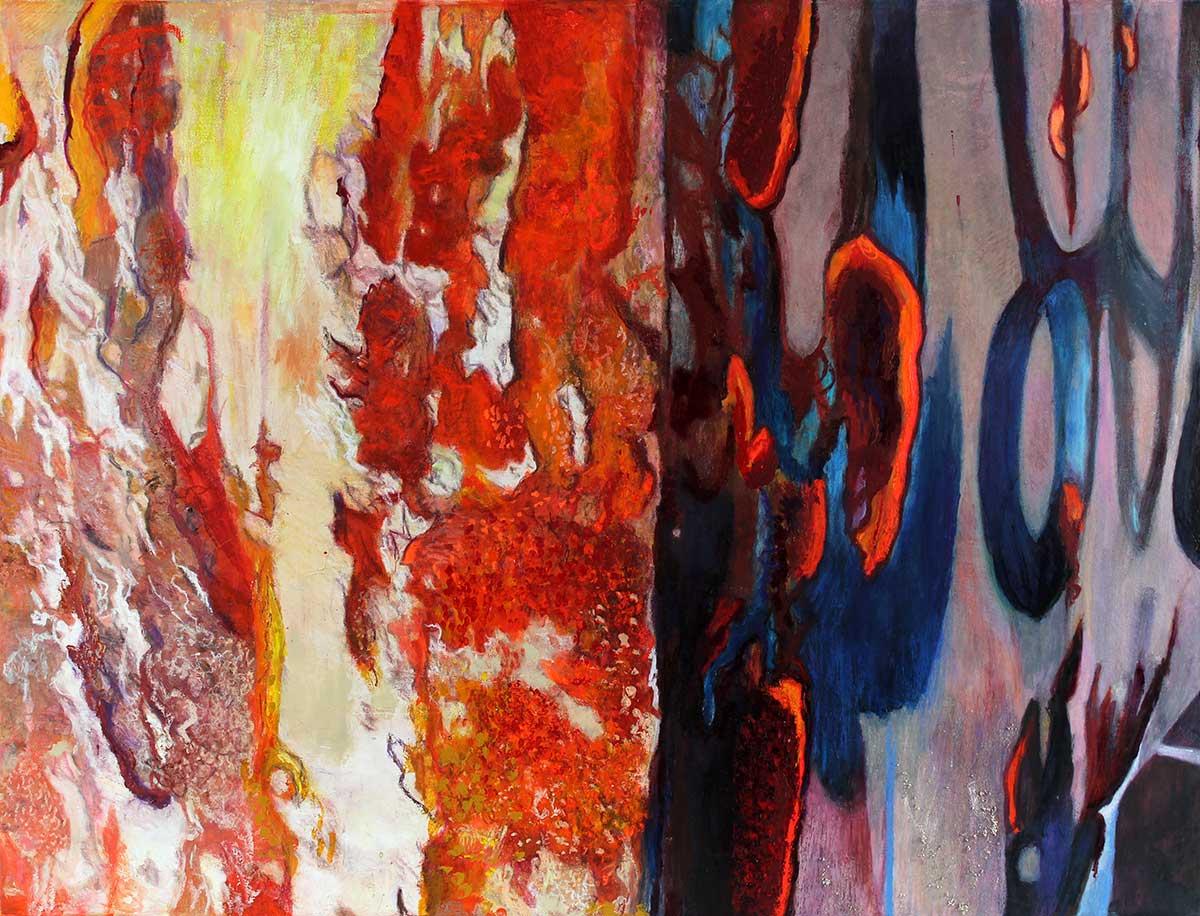 "Nebular Synthesis 38"" x 49.5"" Mixed Media on Canvas"