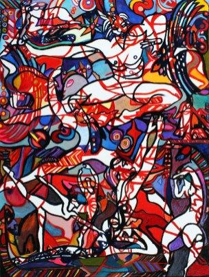 """Dance Fantastique II 50"""" x 38"""" Mixed Media on Canvas"""