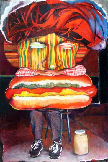 "Hot Diggity Dog 72"" x 48"" Mixed Media on Canvas"