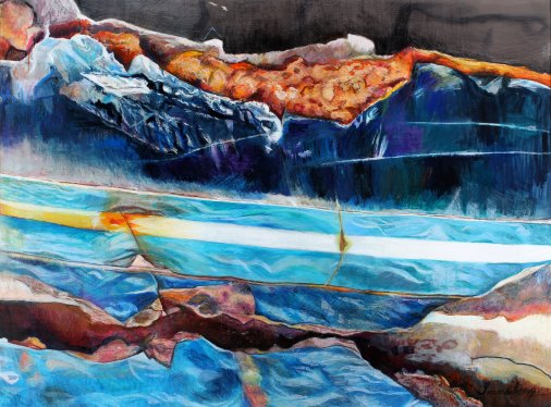 "Surf and Turf 37.5"" x 51"" Mixed Media on Paper"