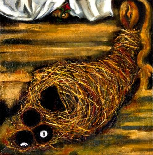 "Behind the 8 Ball A Saint Awaits  24"" x 24""  Oil on canvas  Fall 2017"