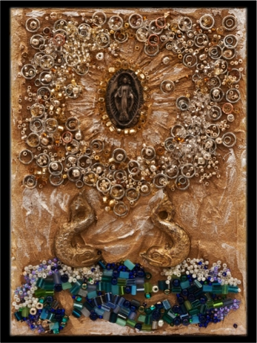 "7"" x 5"" collages of medals, gold leaf, plaster, silver leaf, chains, dried honeycomb, crystals, found objects"