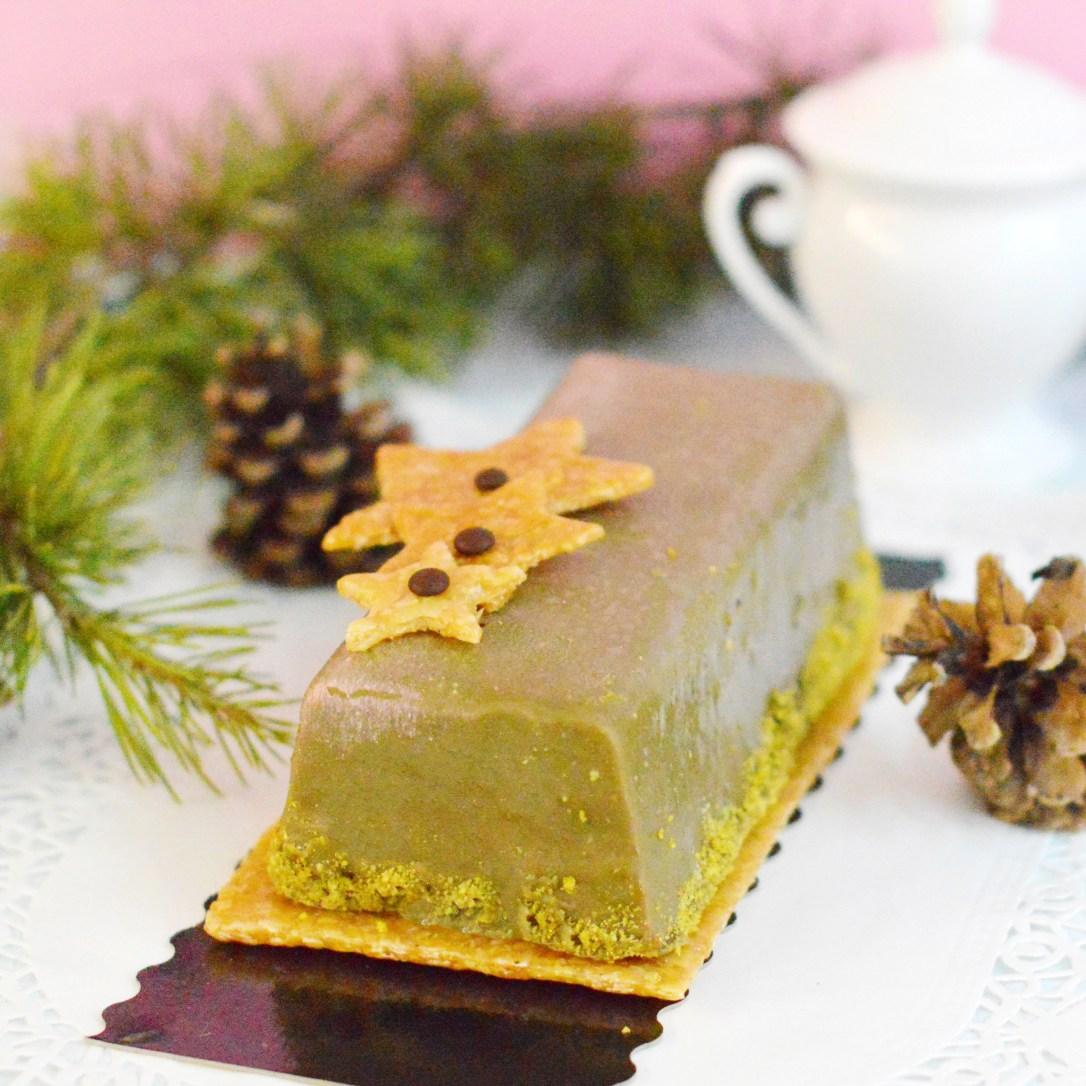 Bûche Nougat Pistache Chocolat Vegan et Sans Gluten