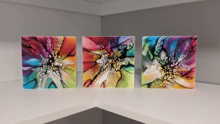 Triptyque arc-en-ciel - Peinture fluide