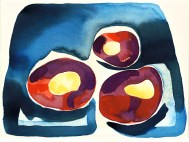 Conkers - red and purple ona blue and indigo background
