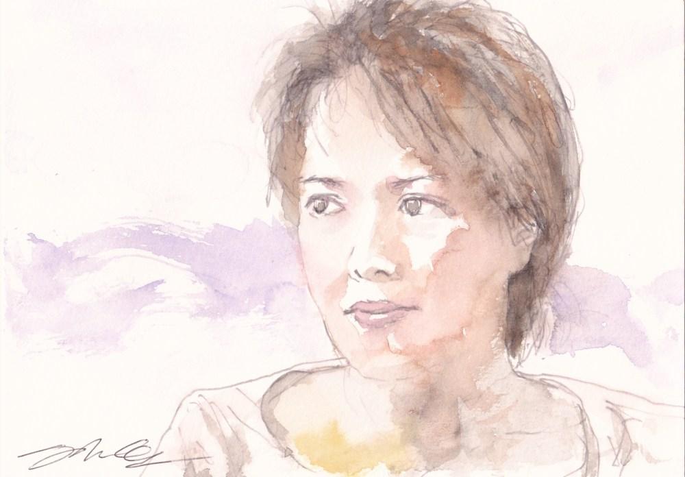 water colour portrait by Shinji Ogata