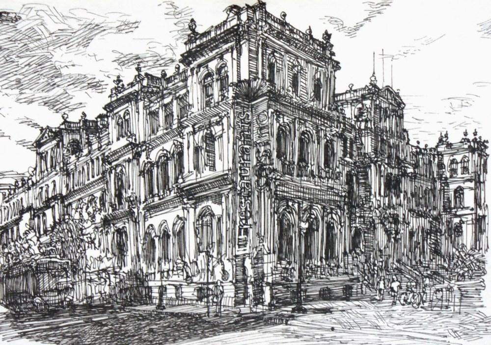 Treasury Casino Brisbane building sketch by Shinji Ogata