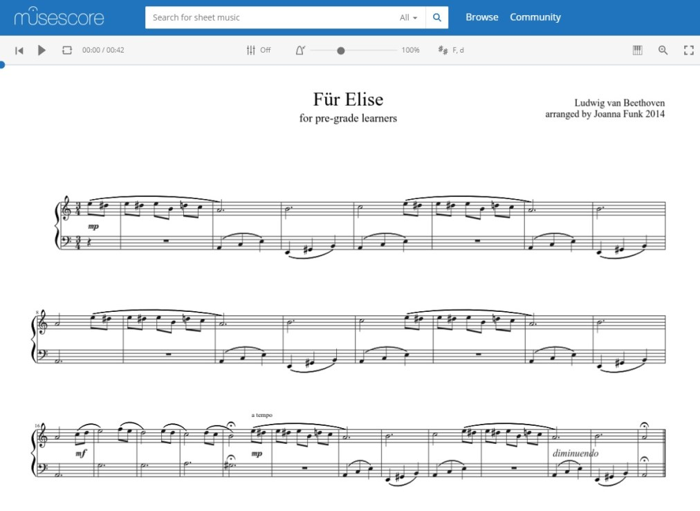 My simple MuseScore Für Elise has 5,759 hits, 44 ♥️