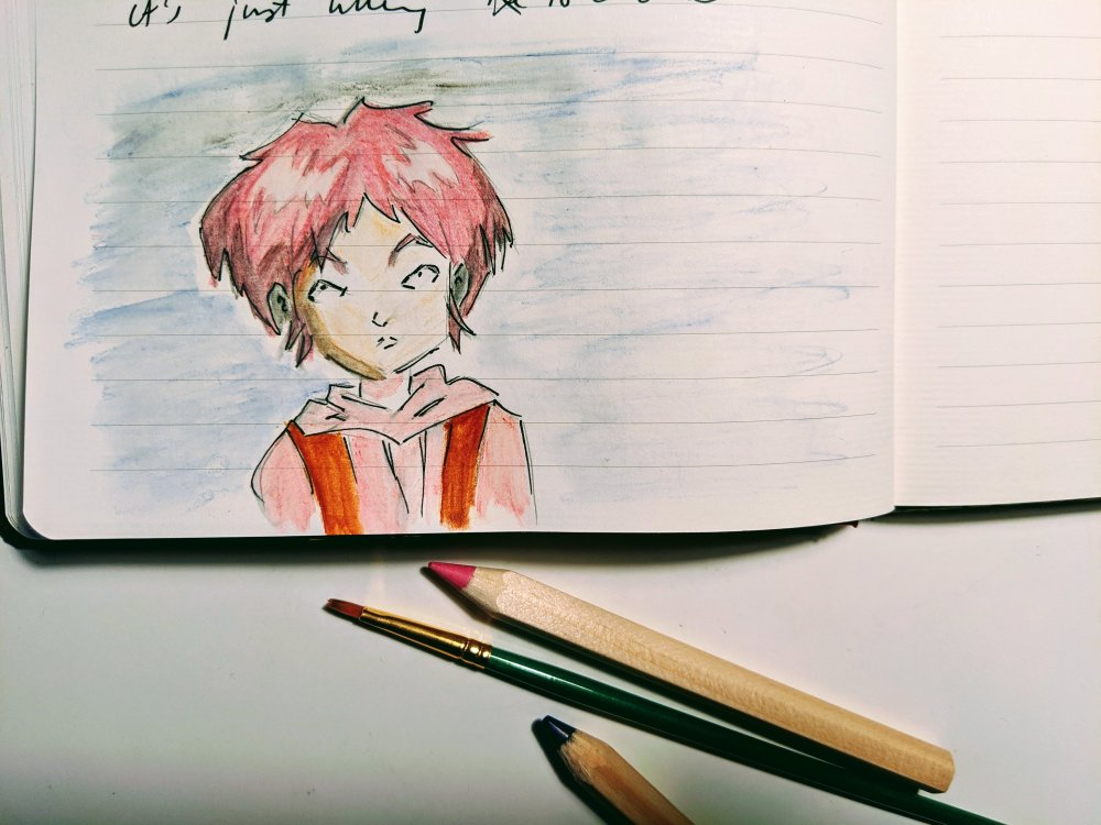 Drawing with watercolour of Code Lyoko female character pink short spiky hair