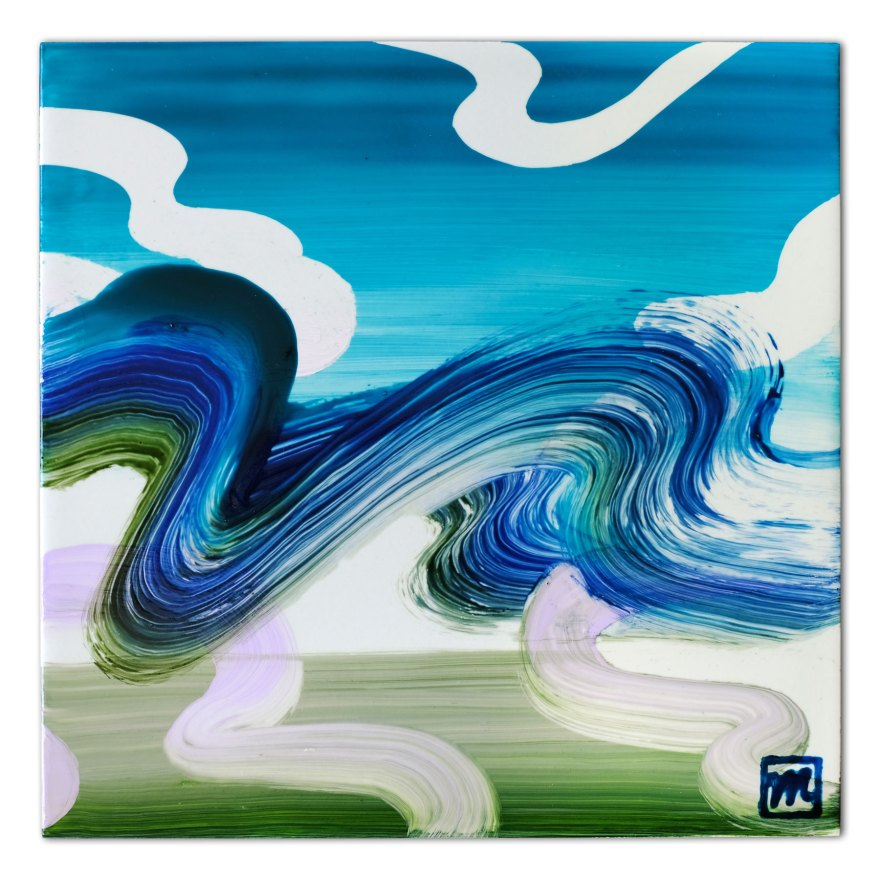 Painting on ceramic tile inspired by the landscape and Ukiyoe art