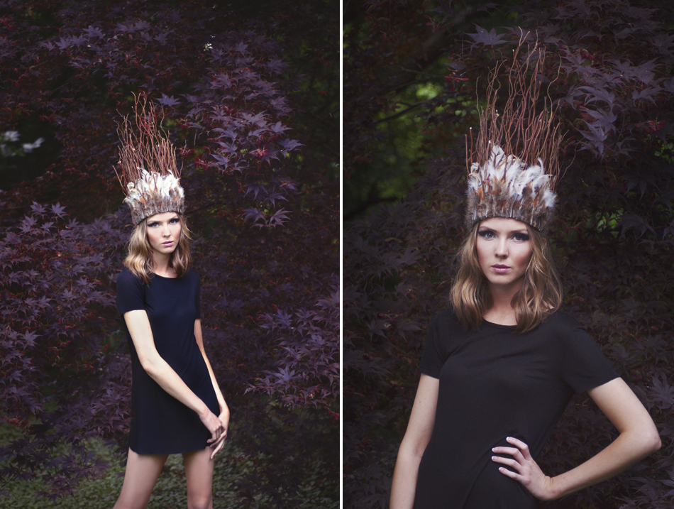Fashion photograph by Maryland Photographer Joanna Tillman against Japanese Maple trees with feather crown