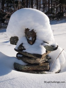 Inuksuk wearing a snow hat. Canada eh!