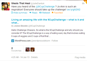 Julie Daniluk Twitter Jan 14 13 Tweet