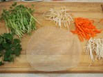 Ingredients ready to be placed on the rice paper