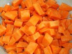 Dice the sweet potatoes into 1 cm cubes