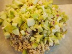 Add the ground nuts, apples, celery, radish and onion