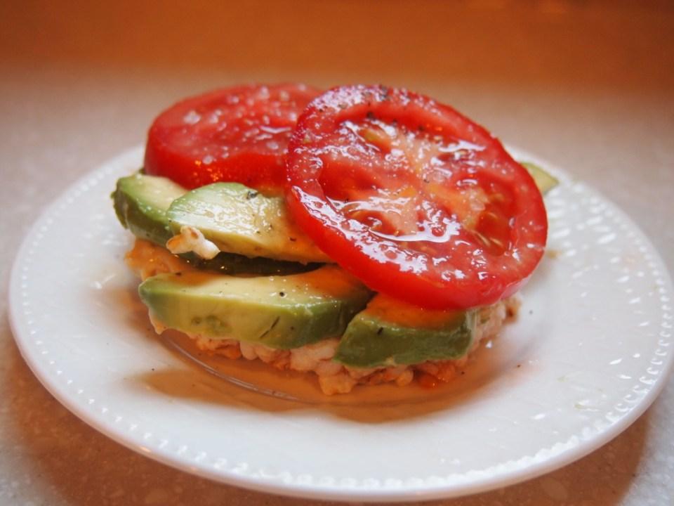 Avocado, Hummus and Tomato on a Brown Rice Cake - Copyright Jo-Ann Blondin