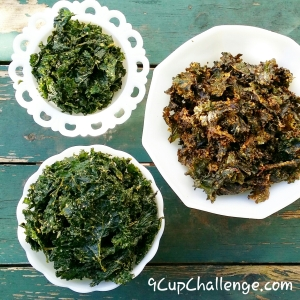 Kale Chips on green board 9CupChallenge.com