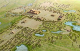 An illustration of the Cahokia Mounds Site in Illinois.